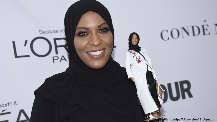 American olympic athlete Ibtihaj Muhammad with her Barbie doll