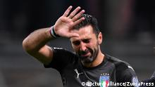 MILAN, Nov. 14, 2017 Gianluigi Buffon of Italy reacts after the second leg of FIFA World Cup 2018 Qualifiers playoff match between Italy and Sweden in Milan, Italy, Nov. 13, 2017. The match ended 0-0. Sweden was qualified for the final stage of 2018 FIFA World Cup with 1-0 on aggregate |