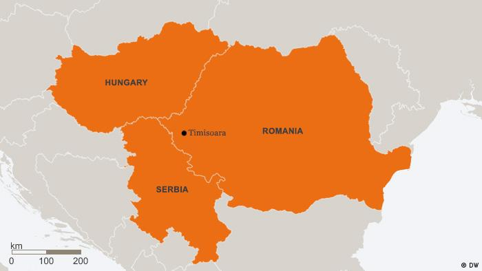 Karte Ungarn Serbien Rumänien ENG (DW)