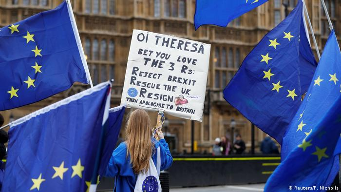 Pro-EU demonstrators outside parliament