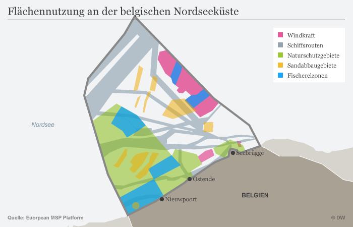 Infografik Karte Flächennutzung an der belgischen Nordseeküste DEU
