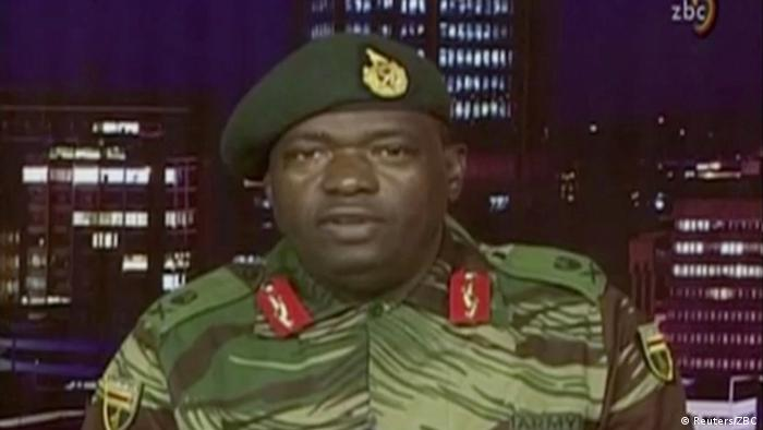 Major general Sibusiso Moyo making an announcement on tv
