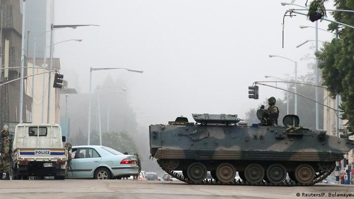 Tanks on the road of Harare