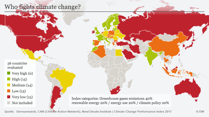 Infografik Karte Climate Change Performance Index 2017 ENG