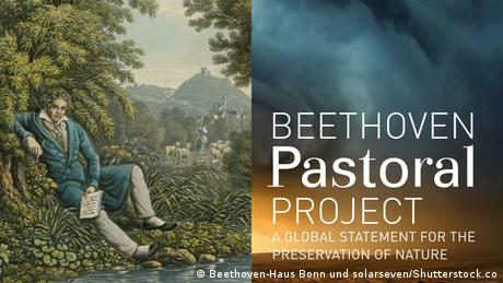 Title page of the brochure to the Beethoven Pastoral Project with Beethoven at brookside and a cloudy sky