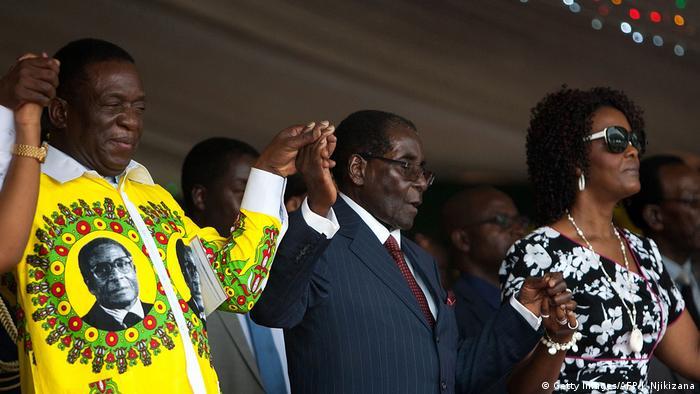 Emmerson Mnangagwa and Robert Mugabe in Zimbabwe