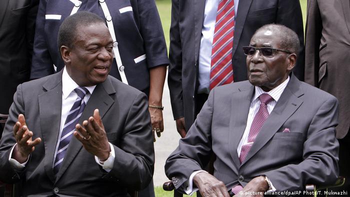 Emmerson Mnangagwa and Robert Mugabe after Mugabe's swearing in in 2014