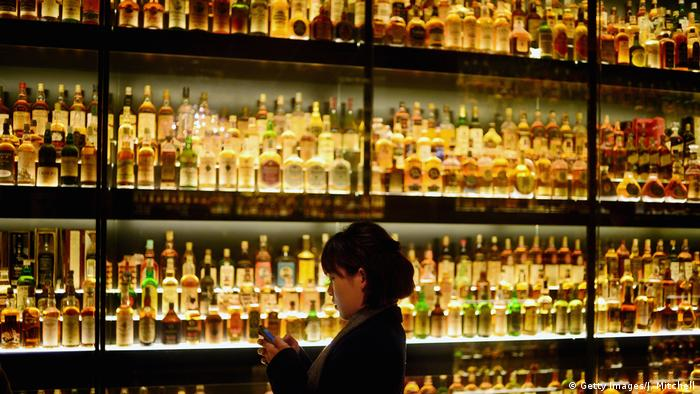 A collection of various brands of whisky on display in Scotland (Getty Images/J. Mitchell)