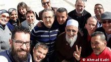 The teacher Haydari in selfi pause with his students Thema: Reportage Gewalt in Schulen in Marokko Place and Date: Tanger, 2016 © Ahmad Kadri