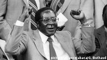 File photo dated April 18, 1980 of Zanu's (Zimbabwe African National Union) leader Robert Mugabe, the new Prime Minster of Zimbabwe, ex-Rodhesia. The military has seized control in Zimbabwe but has said President Robert Mugabe, in power since 1980, is safe. After seizing state TV, an army spokesman announced it was targeting people close to Mr Mugabe who had caused social and economic suffering. The move came after Mr Mugabe sacked his deputy, Emmerson Mnangagwa, in favour of his wife, Grace. Photo by Gerald Buthaud/ANDBZ/ABACAPRESS.COM |