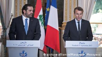 Frankreich Emmanuel Macron & Saad Hariri in Paris