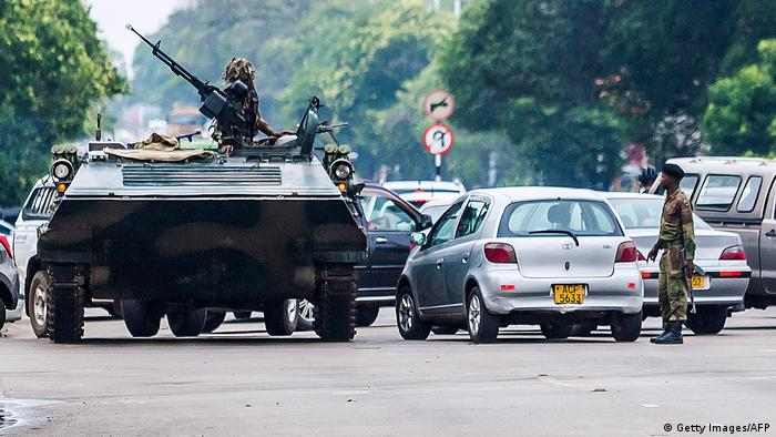 A tank on a street in Harare