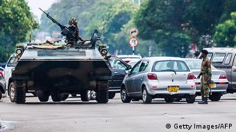 An armored army vehicle in Harare