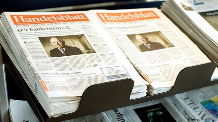 Capa do jornal especializado em economia Handelsblatt