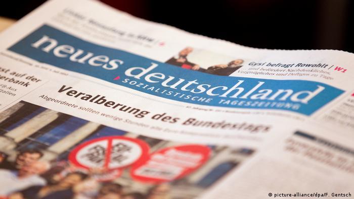 Capa do jornal Neues Deutschland