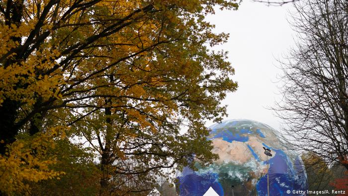 A gigantic globe is seen in a park in Bonn