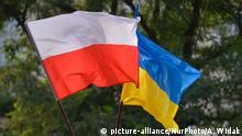 Polen Krakau - Polnische und Ukrainische Flagge