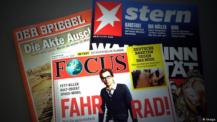 As capas das três principais revistas alemãs