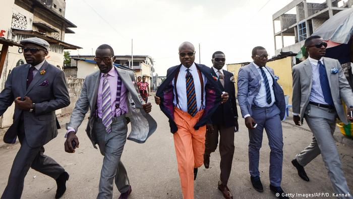 Sapeurs walking in Brazzaville (Getty Images/AFP/D. Kannah)