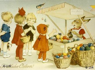 Ein Zeichnung aus einem Kinderbuch: Ein Hase verkauft bunte Eier an Kinder