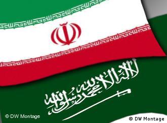 Flags of Iran and Saudi Arabia