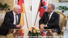 Bundespräsident Steinmeier trifft den Präsidenten der Slowakei, Kiska, in Bratislava