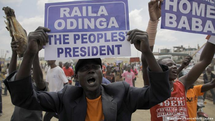 Men hold placards of Kenya's opposition leader