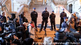 Police at a Brussels court