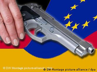 A hand rests on a pistol, superimposed over German and EU flags