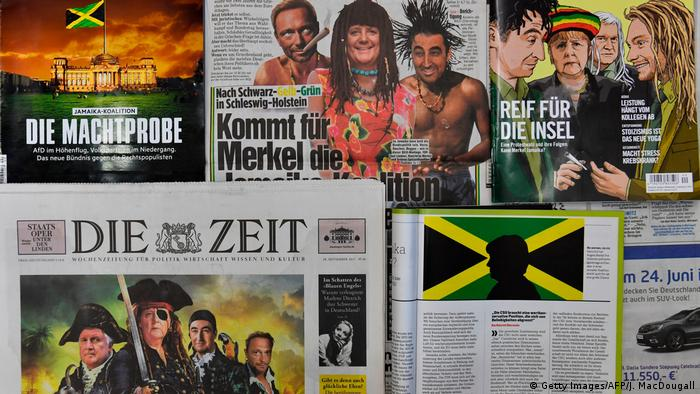 German newspapers covering the possible Jamaica coalition in 2017 (Getty Images/AFP/J. MacDougall)