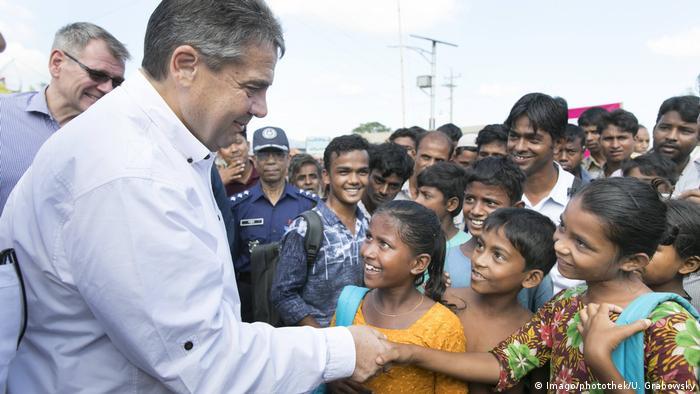 German FM Sigmar Gabriel visiting a refugee camp in Bangladesh