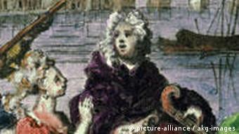 یک اثر نقاشی که هندل را در قایقی بر فراز روز تمز نشان میدهد