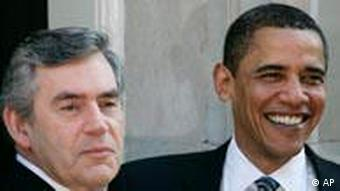 Barack Obama und Gordon Brown in der Downing street in London