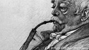 Bismarck Pfeife rauchend