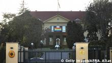 A picture taken on November 16, 2017 shows a rainbow flag hanging outside the German embassy in the Turkish capital Ankara in support of the lesbian, gay, bisexual, transgender (LGBT) community. Turkish authorities have banned a festival of German-language gay films due to kick off in the capital Ankara today on the grounds it could incite hatred and be at risk from a terror attack. The festival organisers, Pink Life QueerFest, planned to screen four films by German directors over two days at cinemas in the Turkish capital, in an event backed by the German embassy. / AFP PHOTO / ADEM ALTAN (Photo credit should read ADEM ALTAN/AFP/Getty Images)