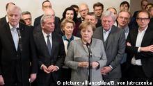20.11.2017 +++ dpatopbilder - RECROP - Die CDU-Vorsitzende und Bundeskanzlerin Angela Merkel und der CSU-Vorsitzende und Ministerpräsident von Bayern, Horst Seehofer, äußern sich am 20.11.2017 zum Scheitern der Jamaika-Sondierungen von CDU, CSU, FDP und Grünen in der Landesvertretung von Baden-Württemberg in Berlin. (Bildwiederholung mit geändertem Bildausschnitt) Foto: Bernd von Jutrczenka/dpa   Verwendung weltweit