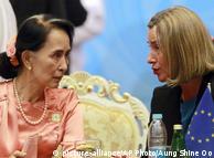 Аунг Сан Су Чжі та Федеріка Могеріні на форумі ASEM