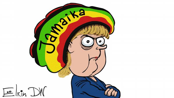 Cartoon of Merkel with Jamaica hat on