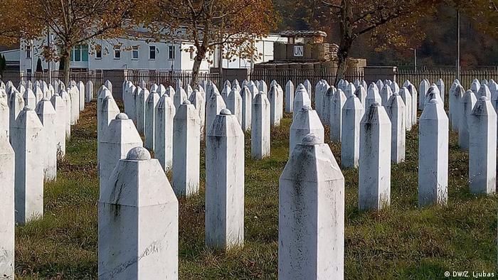 Memorial cemetery in the village of Potocari, near Srebrenica, where UN troops were based at the time of the massacre