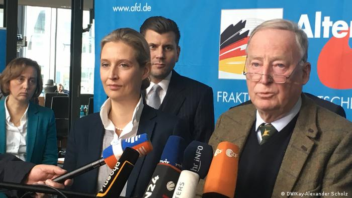 Alternative for Germany co-leaders Alice Weidel and Alexander Gauland at a press conference in Berlin after the collapse of coalition talks (DW/Kay-Alexander Scholz )