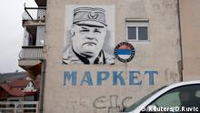 A mural of former Bosnian Serb general Ratko Mladic is seen on a building in Gacko, Bosnia and Herzegovina November 8, 2017. Picture taken November 8, 2017. REUTERS/Dado Ruvic