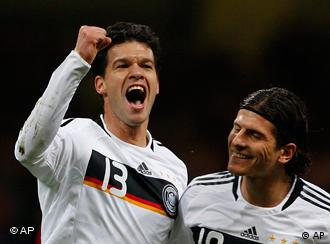 Germany's Michael Ballack, left, and Mario Gomez