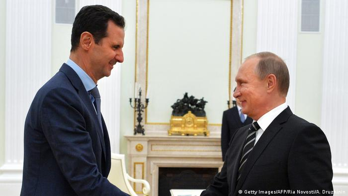 الأسد مع بوتين في الكرملين في أكتوبر 2015