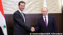 Bashar Al-Assad se encontra com Vladimir Putin em Sochi, na Rússia