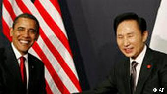 Obama dhe Presidenti koreanojugor, Lee.