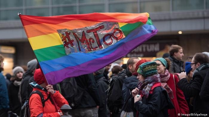 Me Too on a rainbow flag at a demonstration in Berlin