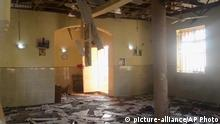 21.11.2017 *** This image taken from TV, shows the interior of a mosque after a deadly attack by a suicide bomber, in Mubi, Adamawa State, Nigeria, Tuesday Nov. 21, 2017. A teenage suicide bomber detonated as worshippers gathered for morning prayers at a mosque in northeastern Nigeria, killing at least 50 people, police said Tuesday, in one of the region's deadliest attacks in years. (AP Photo) |
