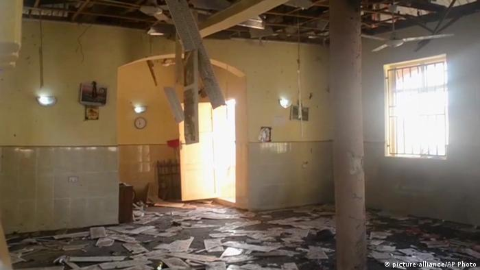 The interior of the mosque that was bombed