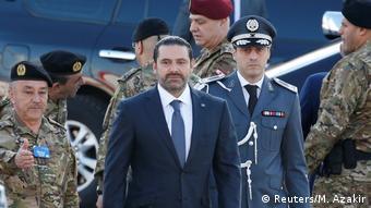 Waziri mkuu wa Lebanon Hariri akiwaili kwenye sherehe za uhuru (Reuters/M. Azakir)