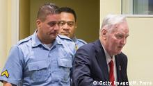 THE HAGUE, NETHERLANDS - NOVEMBER 22: Former Bosnian military chief Ratko Mladic appears for the pronouncement of the Trial Judgement for the International Criminal Tribunal for the former Yugoslavia (ICTY) on November 22, 2017 in The Hague, The Netherlands. UN war crimes judges at The Hague are expected to deliver a verdict on Bosnian Serb military commander Ratko Mladic, dubbed the Butcher of Bosnia today. Mladic, 74, is accused of 11 counts - which include genocide, war crimes and crimes against humanity committed by his forces during the war in Bosnia from 1992 and 1995. (Photo by Michel Porro/Getty Images)